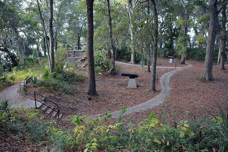 Earthen walls and cannons at Fort Mitchel in Hilton Head, SC