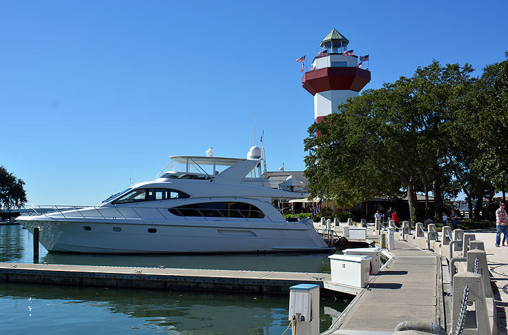 The harbour and lighthouse at Harbour Town in Hilton Head, SC