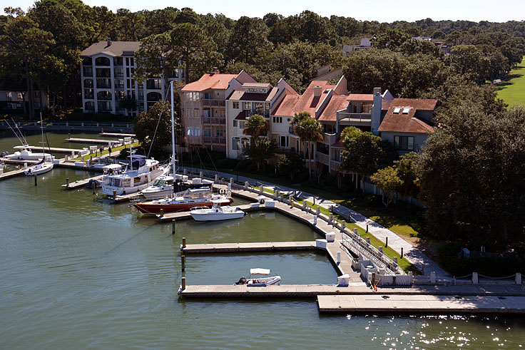Condos line Harbour Town in Hilton Head, SC