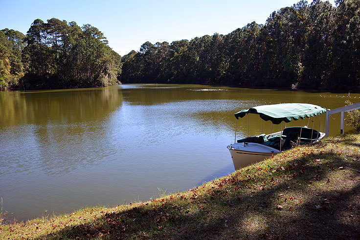 A lake and boat at Sea Pines Forest Preserve in Hilton Head, SC