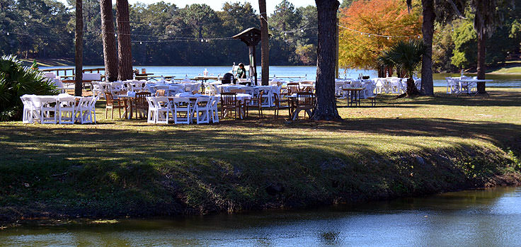 Wedding reception setup at Sea Pines Forest Preserve in Hilton Head, SC