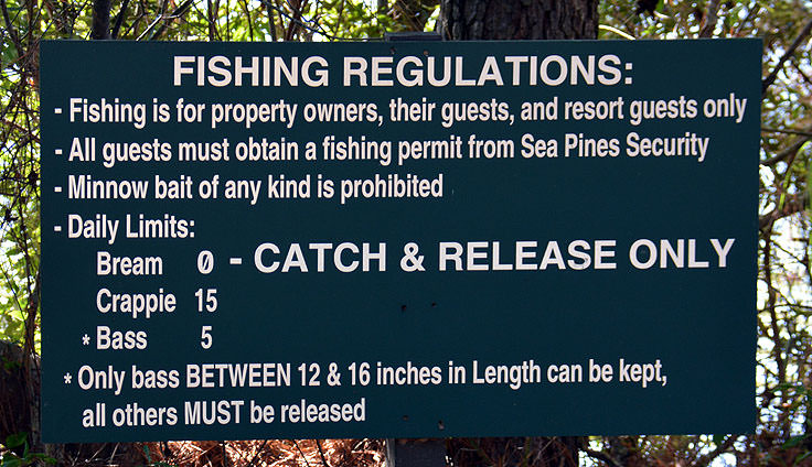 Fishing regulations at Sea Pines Forest Preserve in Hilton Head, SC